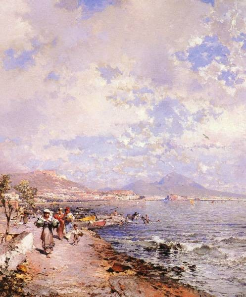 Belgian 1838 1902 The Bay Of Naples OC 825by71cm